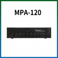 MPA-120/마이크1,2,3/마이크1뮤트기능/AUX1,2/라인출력/챠임/3회로셀렉터/AC,DC24V겸용/120와트